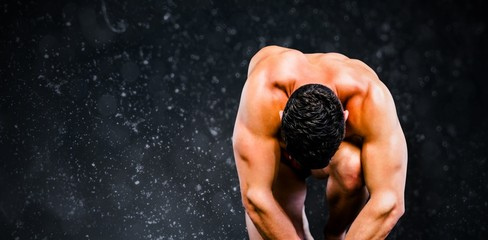 Composite image of bodybuilder posing