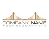 orange bridge logo icon vector