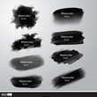 Vector collection black paint brushes. Artistic strokes. - 80895920
