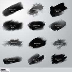 Vector collection black watercolor paint brushes.