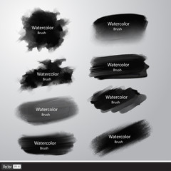 Vector collection black paint brushes. Artistic strokes.