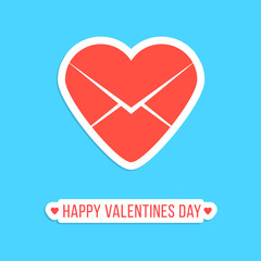 happy valentines day sticker with red heart letter icon