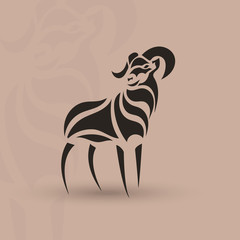 Artistic stylized sheep shape. Silhouette wild animal.