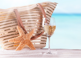 Wine glass and summer accessories, Summer concept