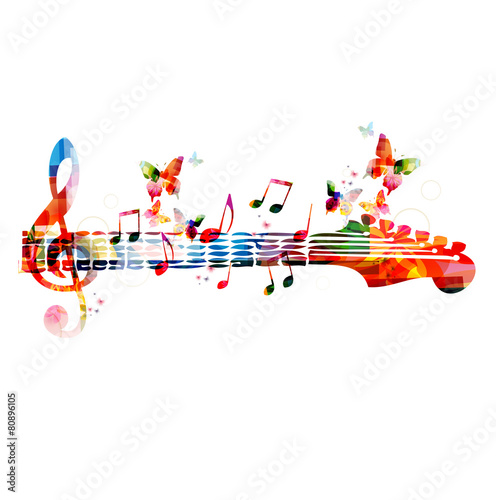 Colorful music design with butterflies - 80896105