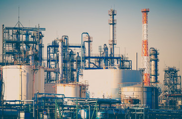 Industrial view at oil refinery plant form industry zone.