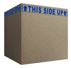 3D Cardboard box with blue this side up signs