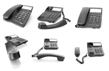 Collection of office telephone. Support concepts