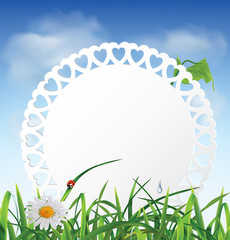 Paper card in the grass against the sky. Vector illustration