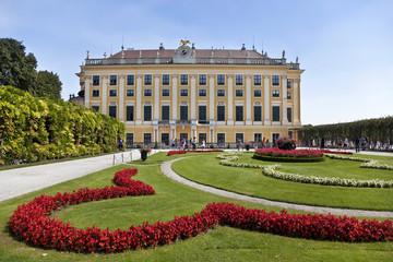 View on Schonbrunn Palace and park in Vienna, Austria
