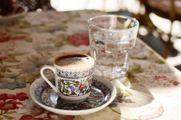 Turkish coffee at street cafe