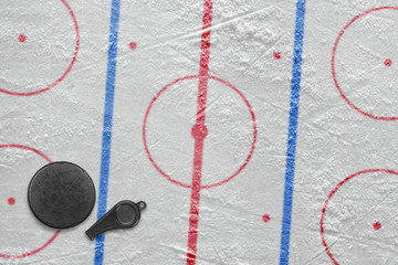 Referee whistle, the puck and hockey field