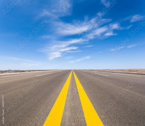 Leinwanddruck Bild road in the gobi