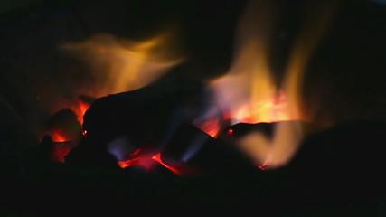 Hot wood fire.Close-up