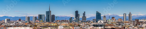 Foto Spatwand Mediterraans Europa Milan Italy - panoramic view of new skyline