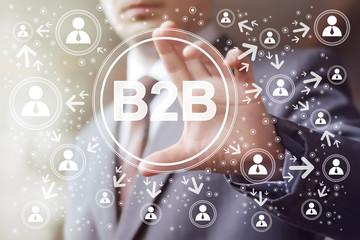 Businessman hand press online web b2b icon button