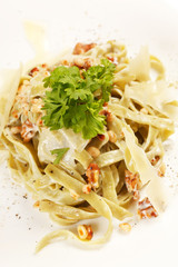 pasta with cream cheese and cedar nuts