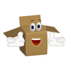 Funny parcel cartoon illustration shipping packet