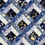 seamless patchwork pattern with butterflies
