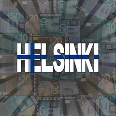 Helsinki flag text on Euros sunburst illustration