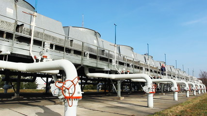 worker comes along top installation for cooling gas