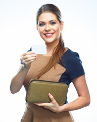 Business woman hold credit card