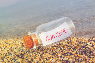 Cancer concept. Message in a bottle
