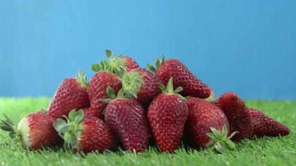 strawberries on grass