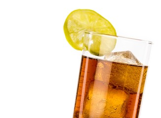 fresh coke with lime slice isolated, summer time