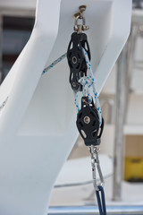 Winches and rope, yacht detail.