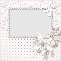 Floral frame with white flowers wedding background