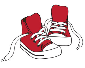 Vector illustration of red sneakers