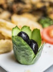 Tradition turkish meze - black olives