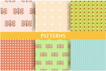Set of vintage, natural, seamless patterns with butterflies and