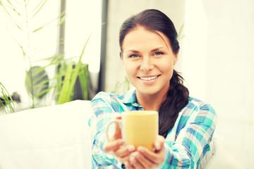 lovely housewife with mug