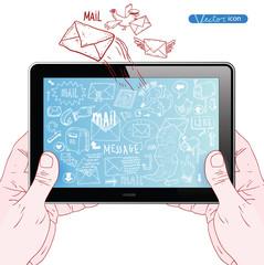 E-mail doodle set. vector illustration.