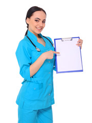Medical doctor woman show empty blank clipboard
