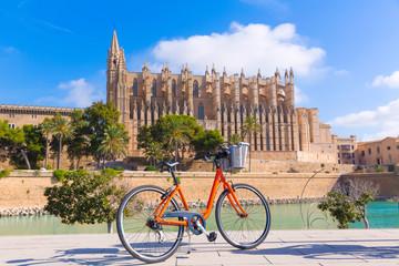 Majorca Palma Cathedral Seu and bicycle Mallorca