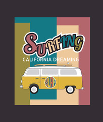 Set of California surf typography, t-shirt graphics , vector for