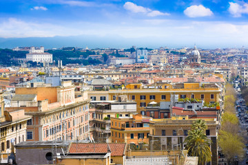 View of Rome cityscape before rain, Itale
