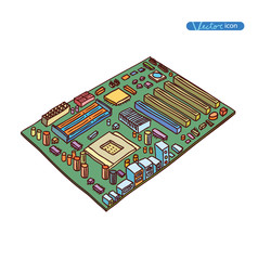 computer motherboard, isolated