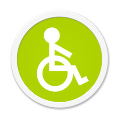 Button grün: Rollstuhl Symbol