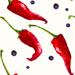Seamless pattern with watercolor red chili papers