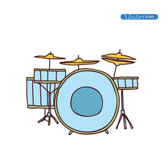 Drums, hand drawn vector illustration.