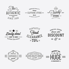Retro Typography Vector Discount and Sale Labels or Logo