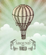 Aeronautic adventure. Vector vintage illustration with balloon - 80906159