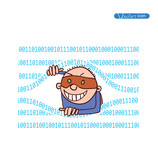 Cybercrime, Thief Hacking, vector illustration. poster