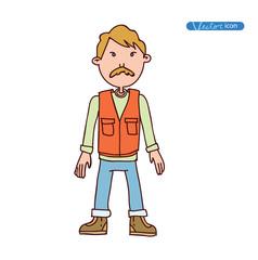Man Adventurer explorer cartoon. vector illustration.
