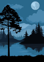 Landscape, Trees, Moon and Mountains