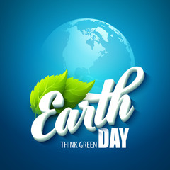 Earth Day. Vector illustration with the words, planets and green